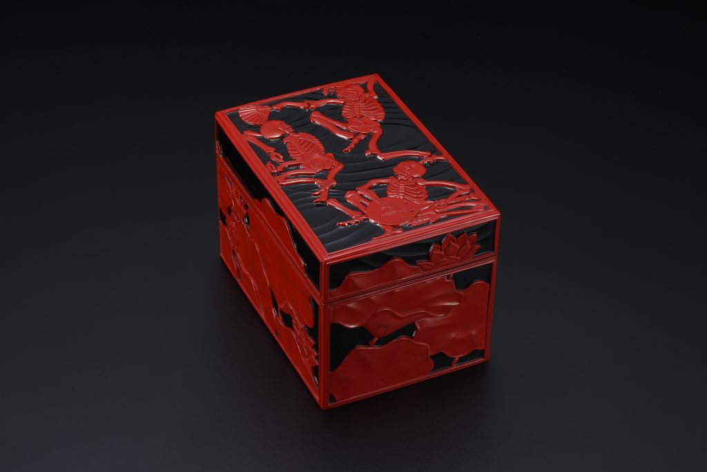 "Carved Lacquer Tea Box ""Lotus Pedestal"""