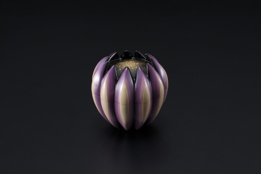 "Carved Lacquer Incense Container ""Flower"""