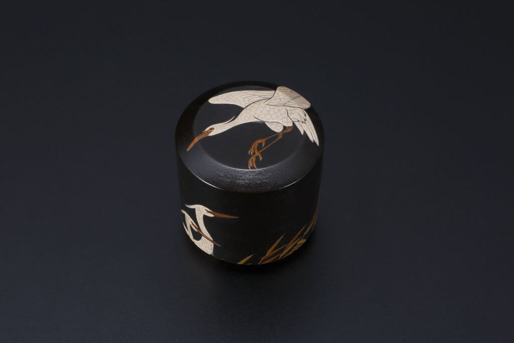 Maki-e Tea Container With Design of Herons in the Reed
